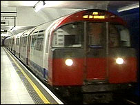 A Piccadilly Line train testing the tracks on Wednesday
