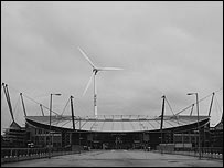 A plan of how the stadium's wind turbine would look