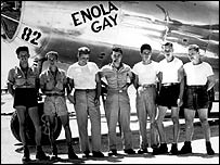 Enola Gay crew in front of aircraft