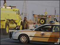 Saudi security forces on road to Abqaid plant