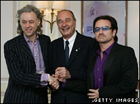 Bob Geldof (left), French President Jacques Chirac (centre) and Bono