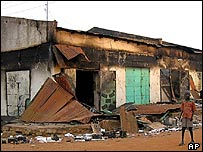 Damaged buildings in Juba