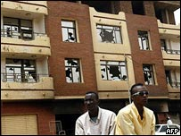 Damaged buildings in Khartoum