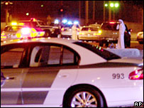 Saudi security forces outside Abqaiq plant