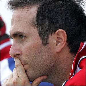 Michael Vaughan looks concerned as England struggle