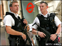 Armed officers on patrol