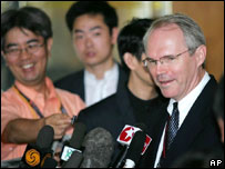 U.S. Assistant Secretary of State Christopher Hill talks to journalists in his hotel in Beijing 4 Aug, 2005