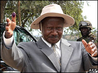 Uganda's President Yoweri Museveni after casting his own vote