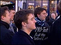 Members of student group PRO- Test gather in Broad Street in Oxford