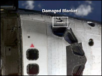 Damaged thermal blanket