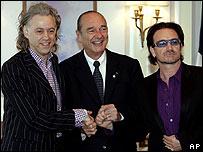 Bob Geldof, Jacques Chirac y Bono