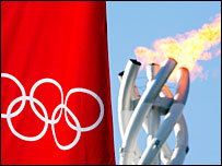 The Olympic flag and flame in Turin