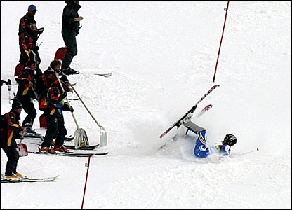 Italy's Giorgio Rossa crashes out of the slalom