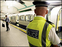 A police officer at Russell Square Tube station