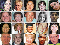 Faces of 20 of the 52 people who died in the London bombings, 7 July