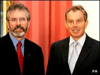 Gerry Adams and Tony Blair