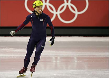 Apolo Anton Ohno is ecstatic after winning gold