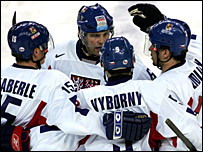 The Czech Republic celebrate Marek Zidlicky's goal