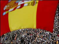 Marchers in Madrid, Spain