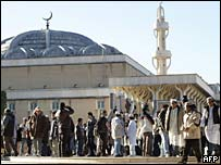 Members of the Muslim community outside the Rome mosque