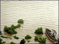 Flooded Vasai marshlands outside Mumbai