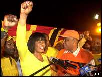 Portia Simpson Miller celebrates winning the PNP leadership in Jamaica