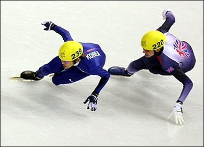 Great Britain's John Eley (right) and Korea's Hyun-Soo Ahn in the 500m final