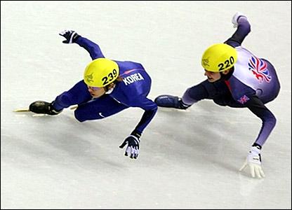Great Britain's John Eley (right) and Korea's Hyun-Soo Ahn in the 500m final
