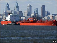 Tankers about to dock at the port of Philadelphia