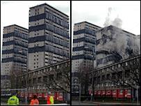 Gorbals tower block being demolished - taken by Jim Moore