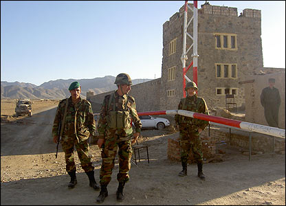 Guards outside the Pul-e-Charkhi jail in Kabul, Afghanistan