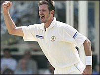 Michael Kasprowicz celebrates taking the wicket of Marcus Trescothick