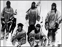Captain Robert Scott and his team in the Antarctic