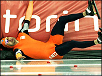 Erben Wannemars of Holland takes a tumble