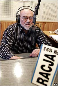 Journalist Wiktar Stachwiuk broadcasts to Belarus from Radio Racja in Poland