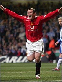Wayne Rooney celebrates after scoring at the Millennium Stadium