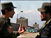 Afghan soldiers stationed outside at Kabul's Pul-e-Charkhi jail.