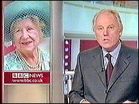 Peter Sissons, in burgundy tie, announces the death of the Queen Mother
