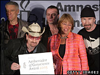 U2 and Chilean elected President Michelle Bachelet