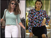 White jeans, as worn by Liz Hurley for years (left) and shoulder pads