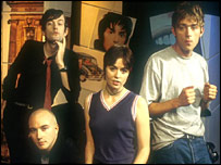 Clockwise from bottom left: The Boo Radleys' Sice, Pulp's Jarvis Cocker, Blur's Damon Albarn and Sleeper's Louise Wener