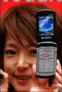 Model with Vodafone handset