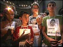 Croatian Serb refugee children at Belgrade's St. Marko Orthodox church