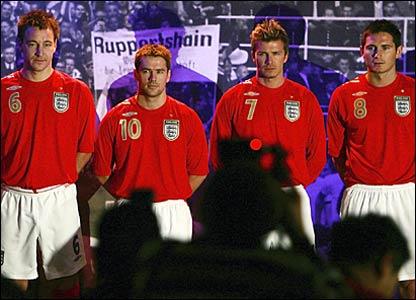 John Terry, Michael Owen, David Beckham and Frank Lampard