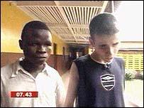 Ibrahim and  Kyle at the Milton Margai School
