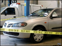 Colin Dixon's car, after it had been recovered by police