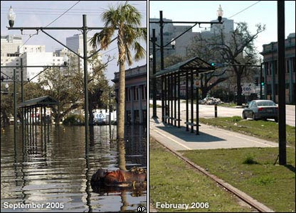 Left: Body floating in water. Right: Tram tracks visible on same street
