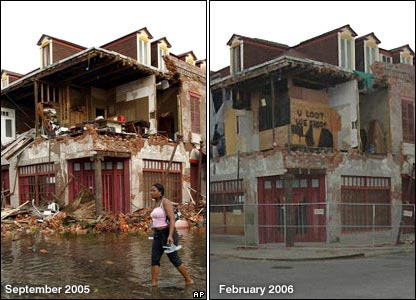 Left: Woman wades past damaged house. Right: The same house, now boarded up with a sign saying 'you loot, we shoot'