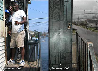 Left: Kenneth Jackson on steps, water in background. Right: Steps and empty street