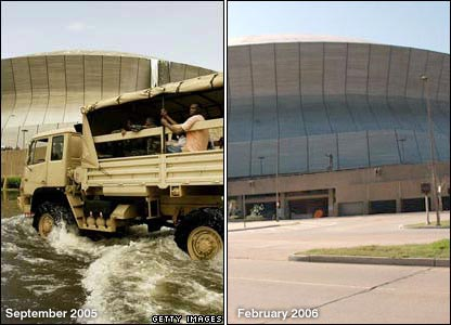 Left: Truck loaded with refugees drives through water outside Superdome. Right: Superdome in February 2006